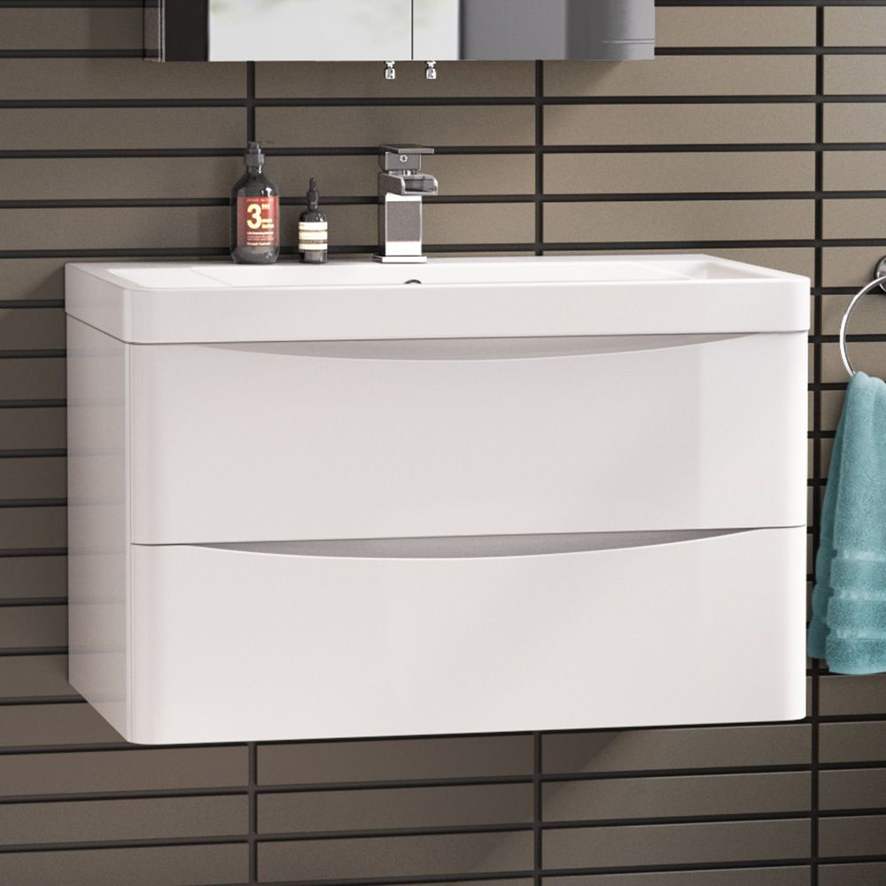 X 510mm Modern White Bathroom Vanity Unit Stone Countertop