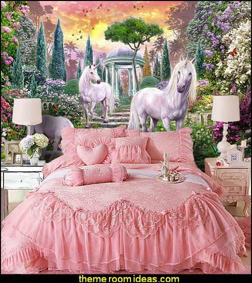 unicorn wall murals princess pink lace bedding girls | +node