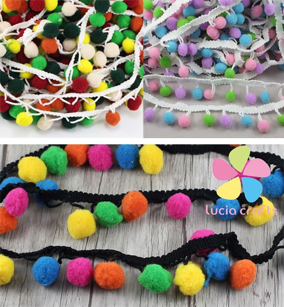 1 Yard Embroidered Trim Ribbon Pom Pom Ball Fringe Ribbon Craft Cute DIY Sewing