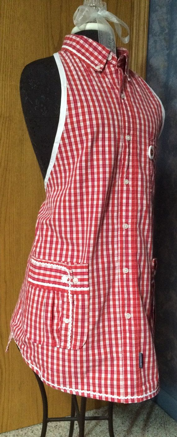Apron made from a mens repurposed shirt by GrandmaLuDesigns | Sew Me ...