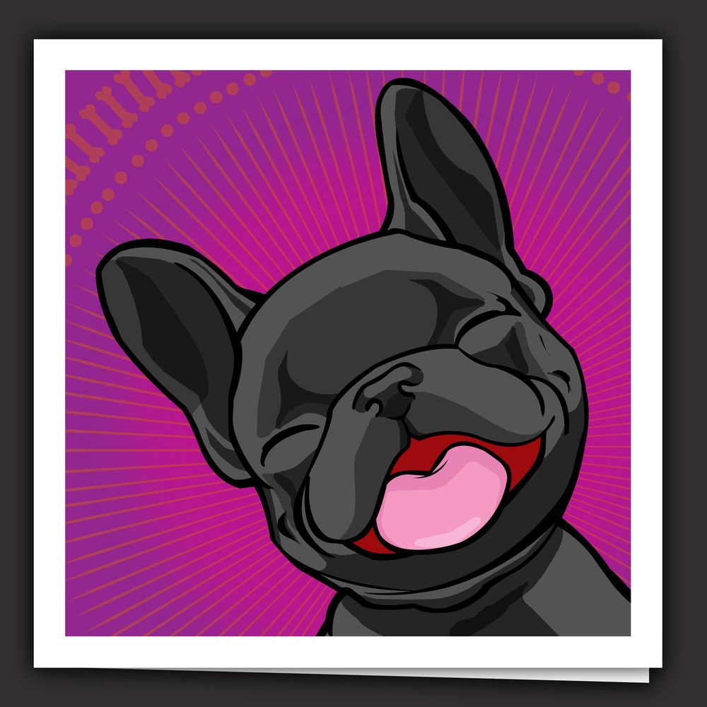 Happy puppyblack blank note card and white envelope Бульдожка
