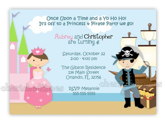 La princesse et le Pirate Style 2 Invitation anniversaire – Kids Pirate Party Invitations