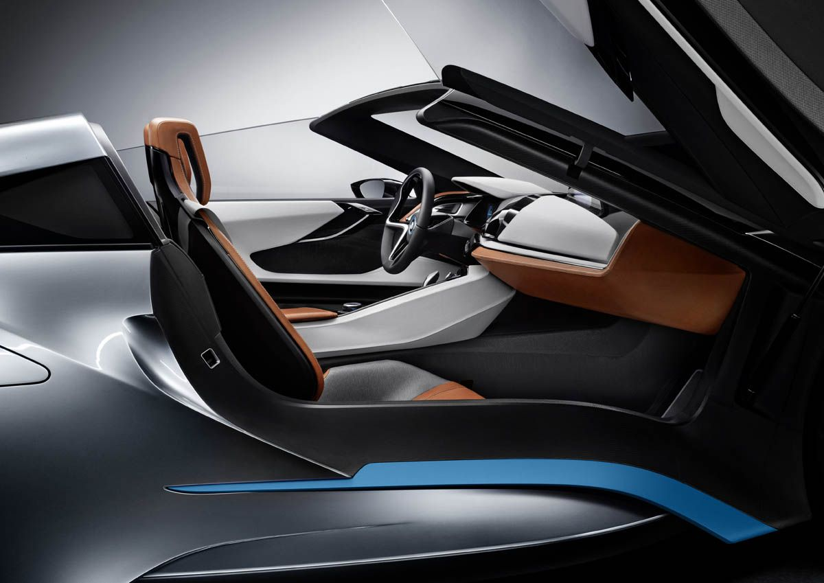 Bmw i8 interior side view blue grey brown leather glossy black convertible seat car modern dynamic