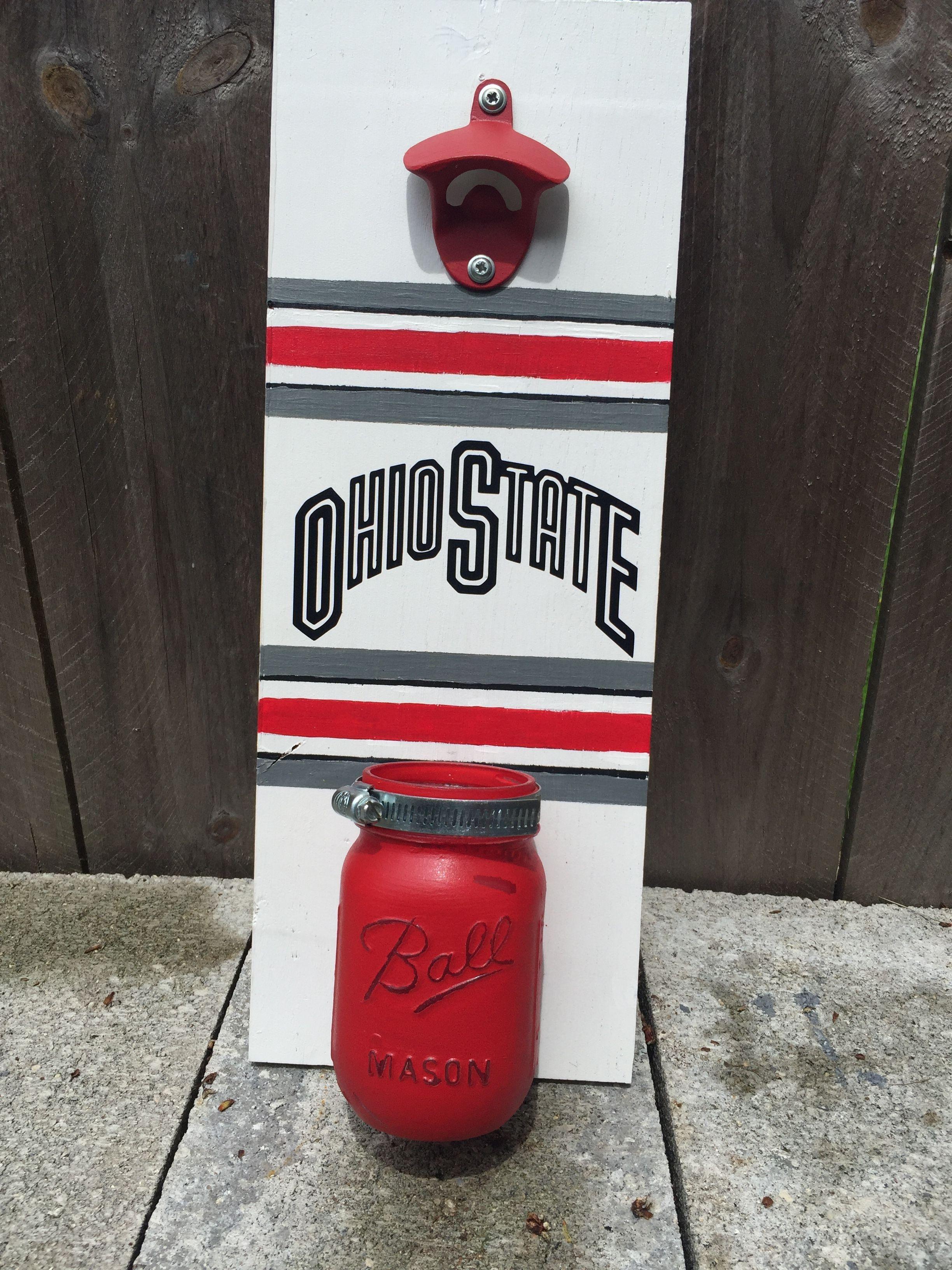 Diy Ohio State Buckeyes Wall Mounted Bottle Opener With