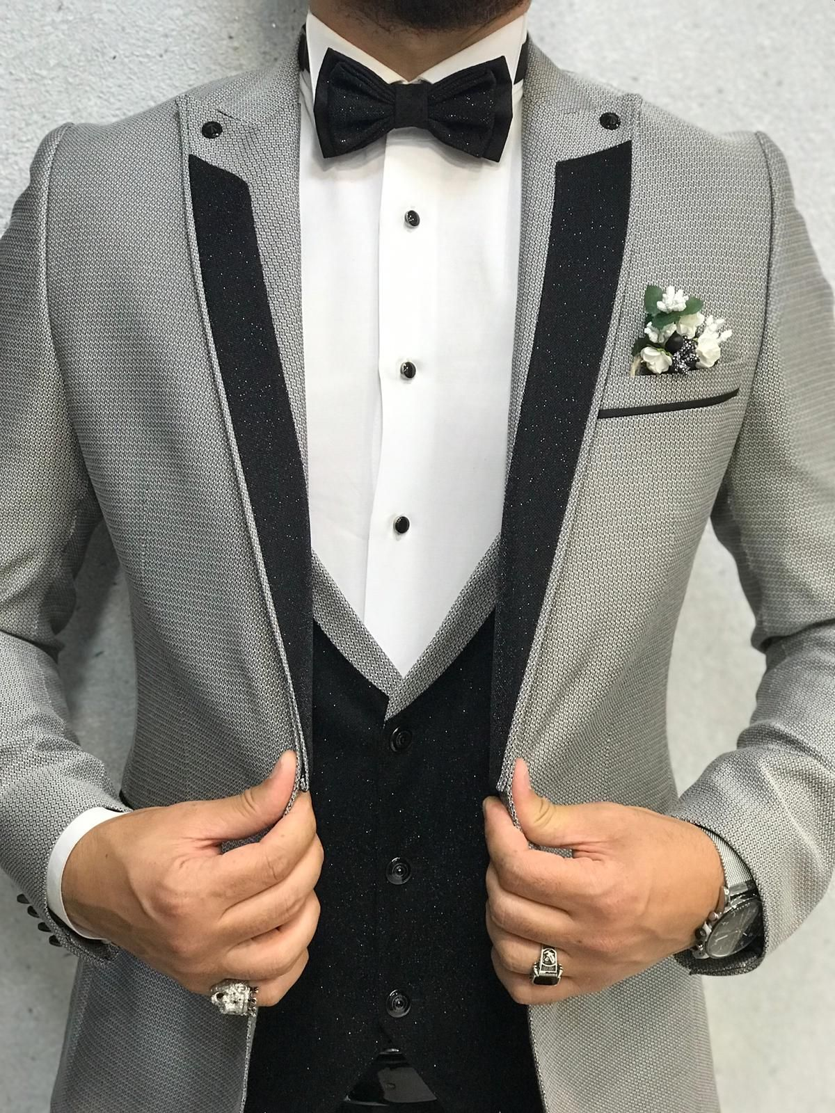 Buy Gray Slim Fit Tuxedo by with Free