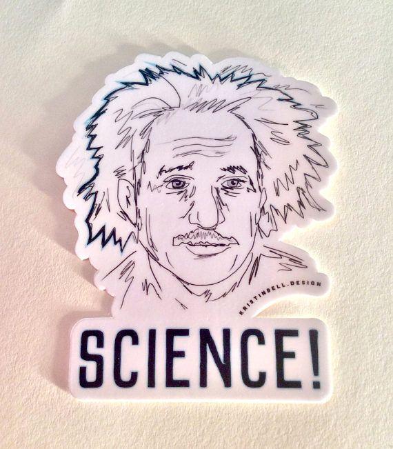 Yay science and einstein vinyl die cut sticker
