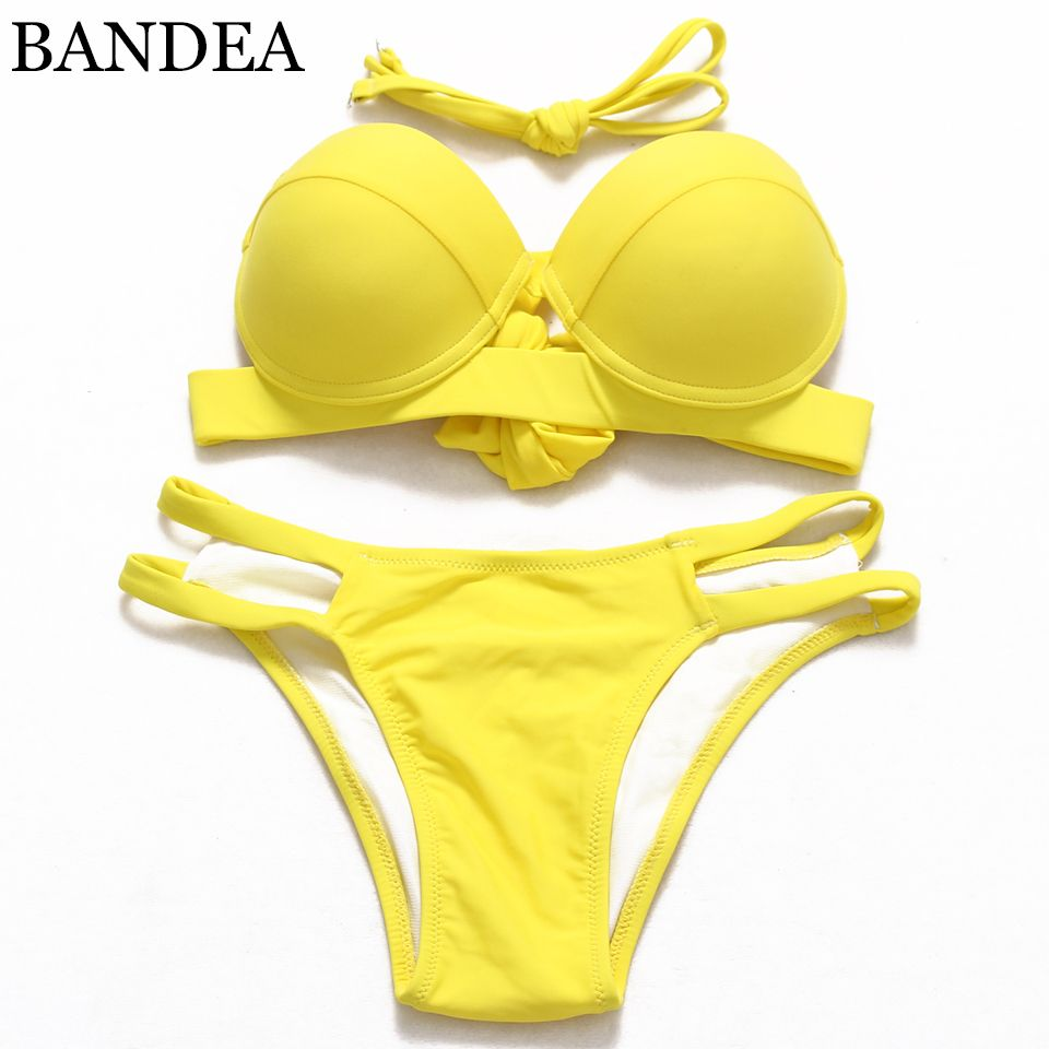 Retro Vintage Sexy Push Up Halter swimsuit Bandeau Classical Bikini Cut out Brazilian Low wasit Beachwear For Girls