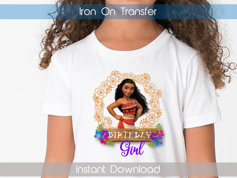 Moana birthday girl iron on transfer moana iron on