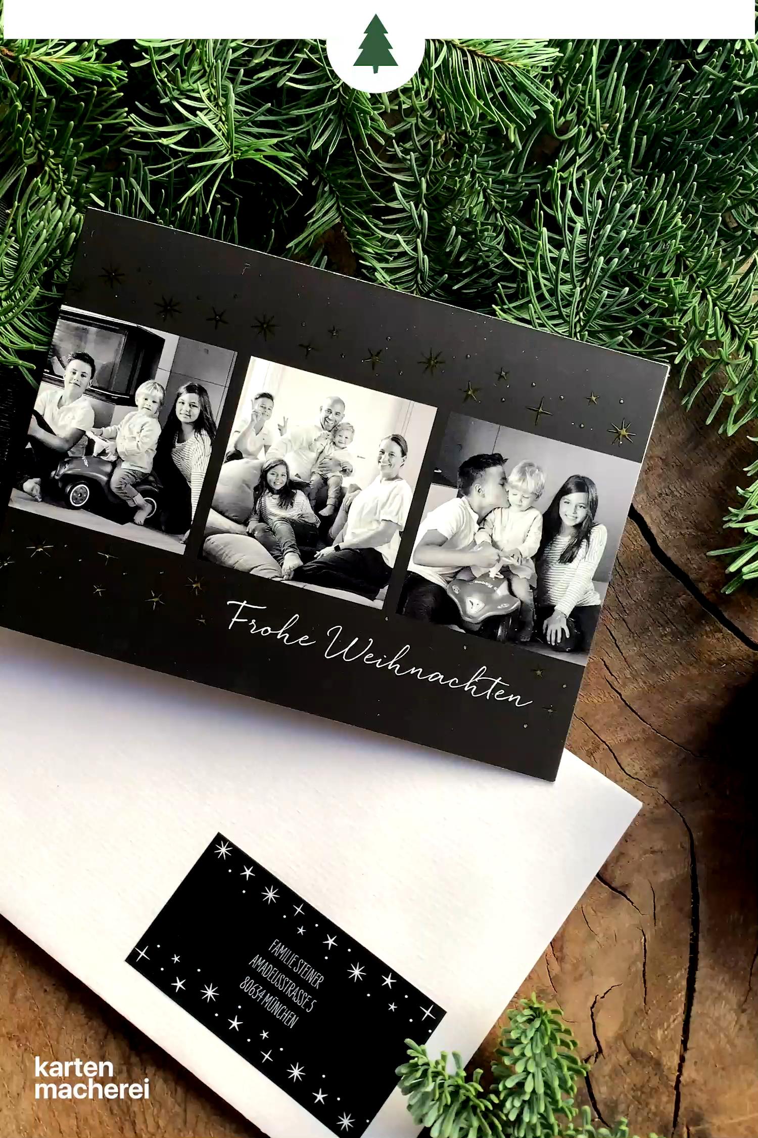 Weihnachtsuberraschung Weihnachtskarten Mit Folienverdelung In Gold Silbe Video Weihnachtskarten Weihnachtskarten Gestalten Selbstgemachte Geschenke Zu Weihnachten