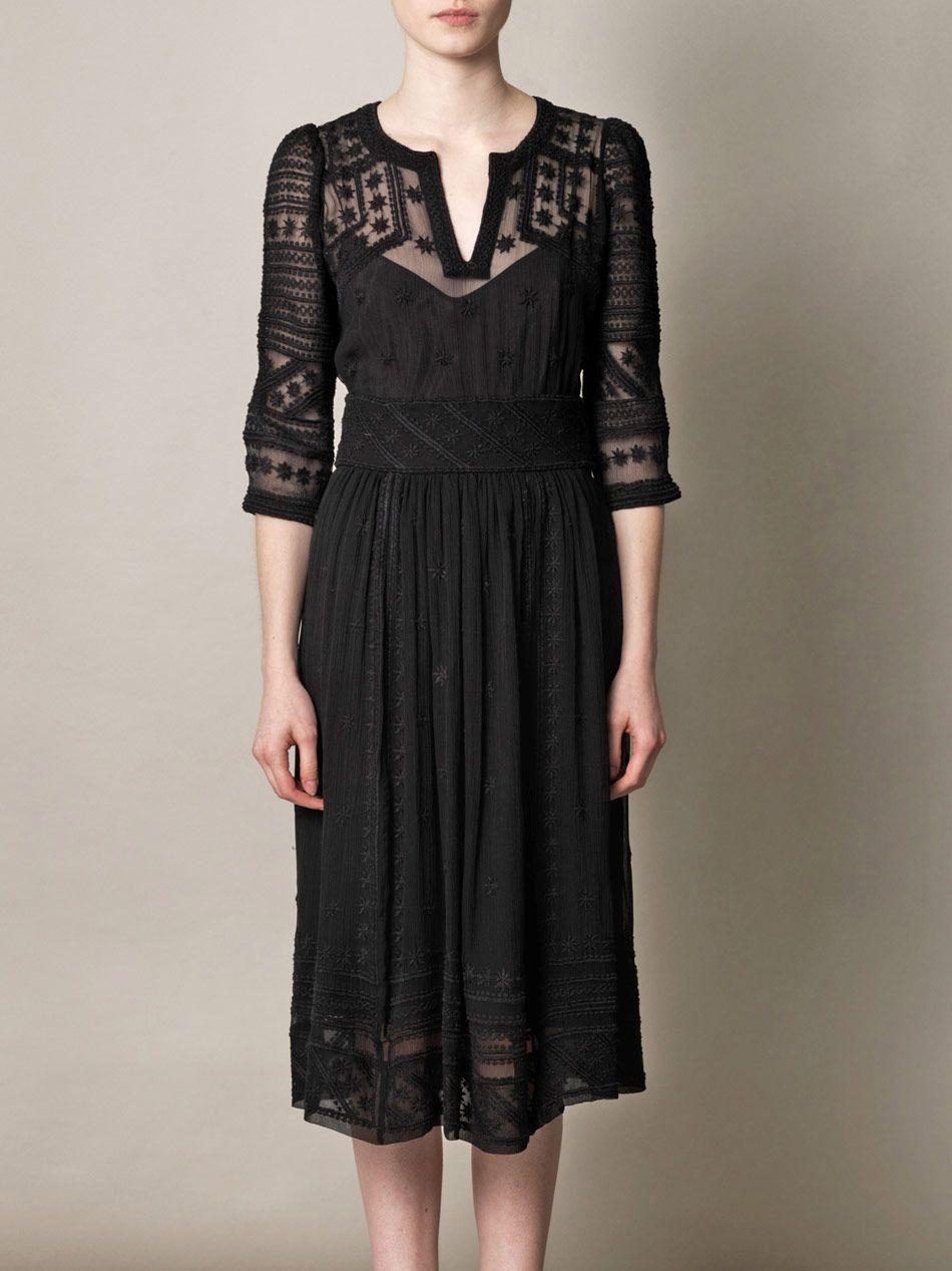 Isabel Marant Black Ludivine Embroidered Silk Chiffon ...