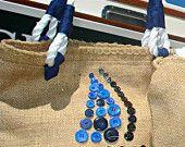 Burlap Sailboat Handbag with Nautical Rope Handle