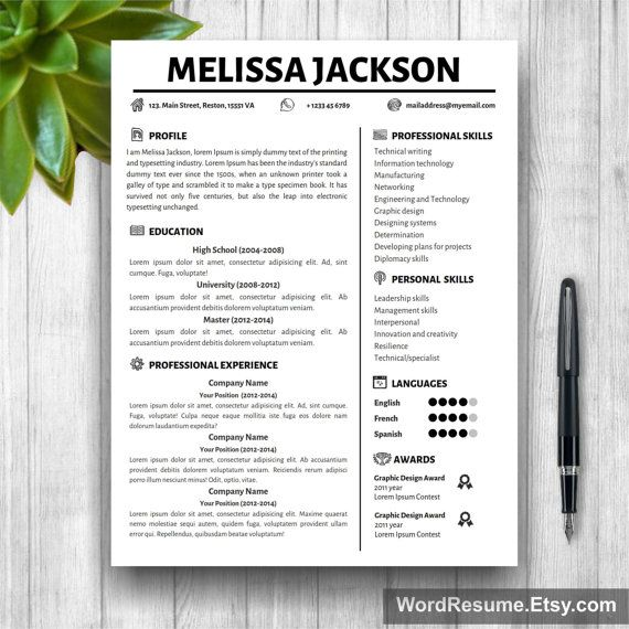 Professional Resume Template + Cover Letter, References and