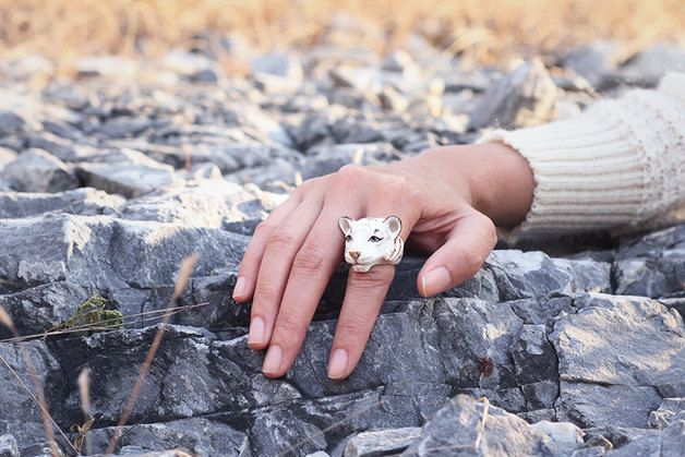 Perfect gift for your beloved sister! Snow Bengal Ring – a unique product by goodafternine via en.DaWanda.com