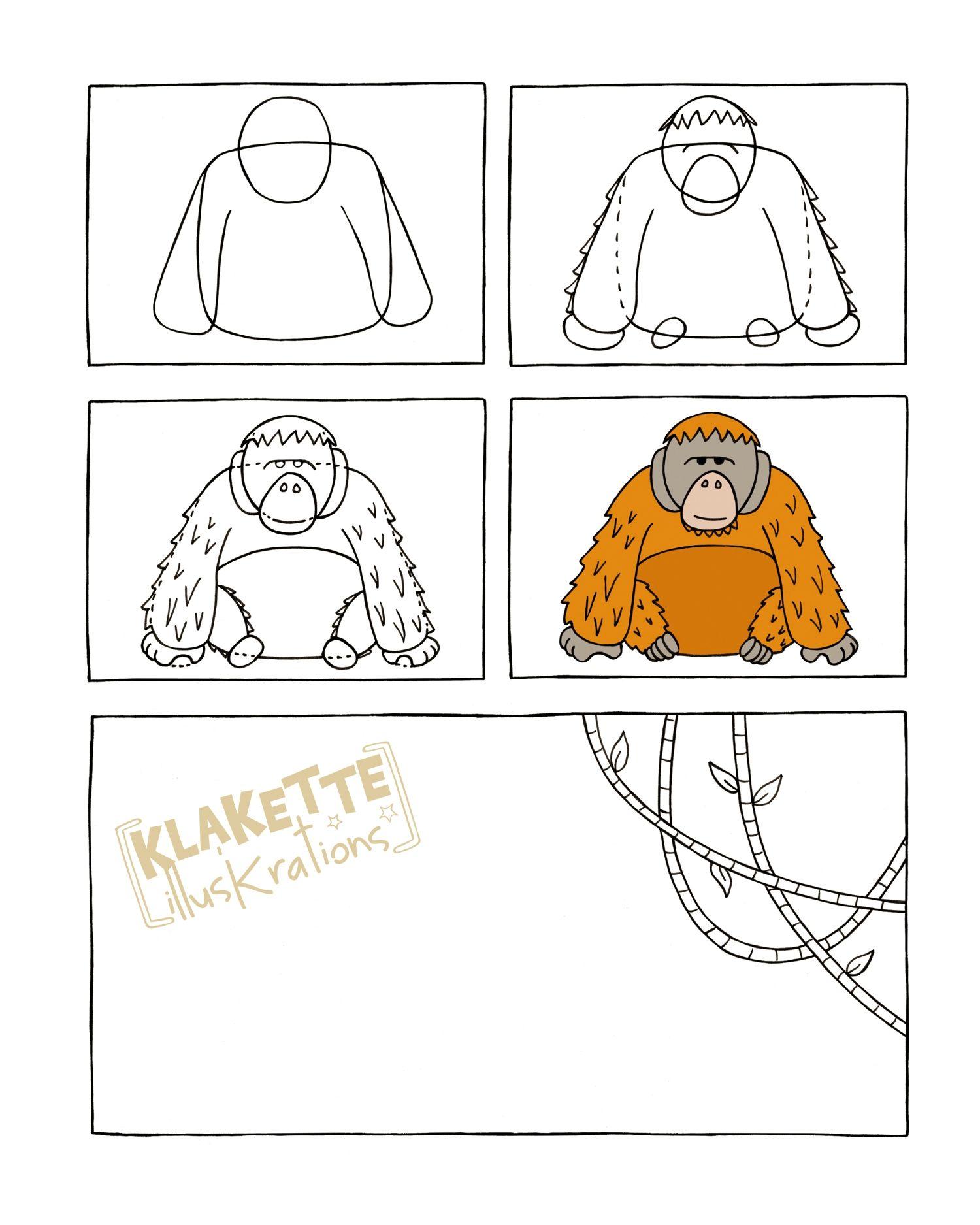 Aap tekenen met kleuters thema apen kleuters monkey for Koivijver bouwen stap voor stap