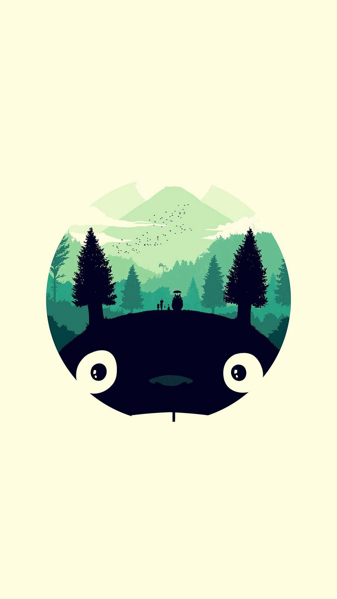 Totoro Art Illust Simple Cute Iphone 8 Wallpapers
