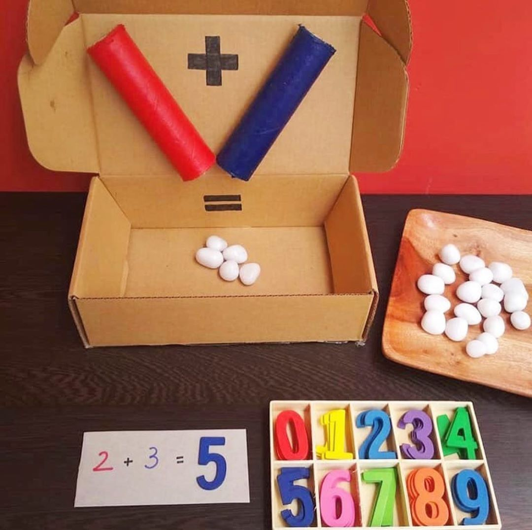 Learningthroughplay8 Introduction To Addition A Maths Busy Box Busy Boxes Math Addition Games Math Crafts Simple addition activities for