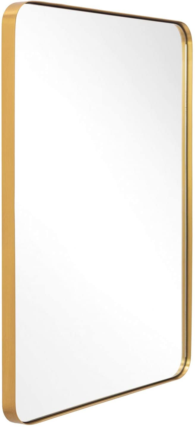 Amazonsmile Andy Star Gold Bathroom Mirror 22x30 Brushed Brass Metal Frame Rounded Corner Wall Wall Mounted Mirror Bathroom Mirror Frame Framed Mirror Wall