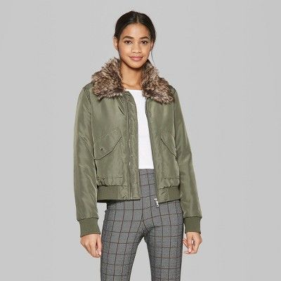 a76d040425f Women s Removable Faux Fur Collar Bomber Jacket - Wild Fable Olive (Green)  Xxl