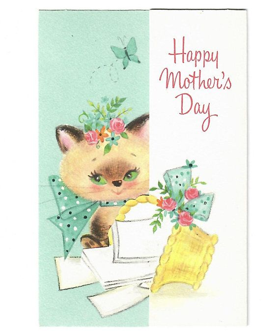 Vintage unused mcm mothers day cat kitten hallmark greeting card vintage unused mcm mothers day cat kitten hallmark greeting card 1960s mid century unsigned m4hsunfo Gallery