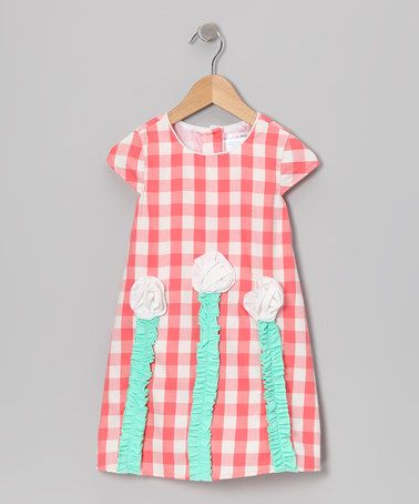Take a look at this Coral Checkerboard Floral Dress - Toddler & Girls by Gidget Loves Milo on #zulily today!