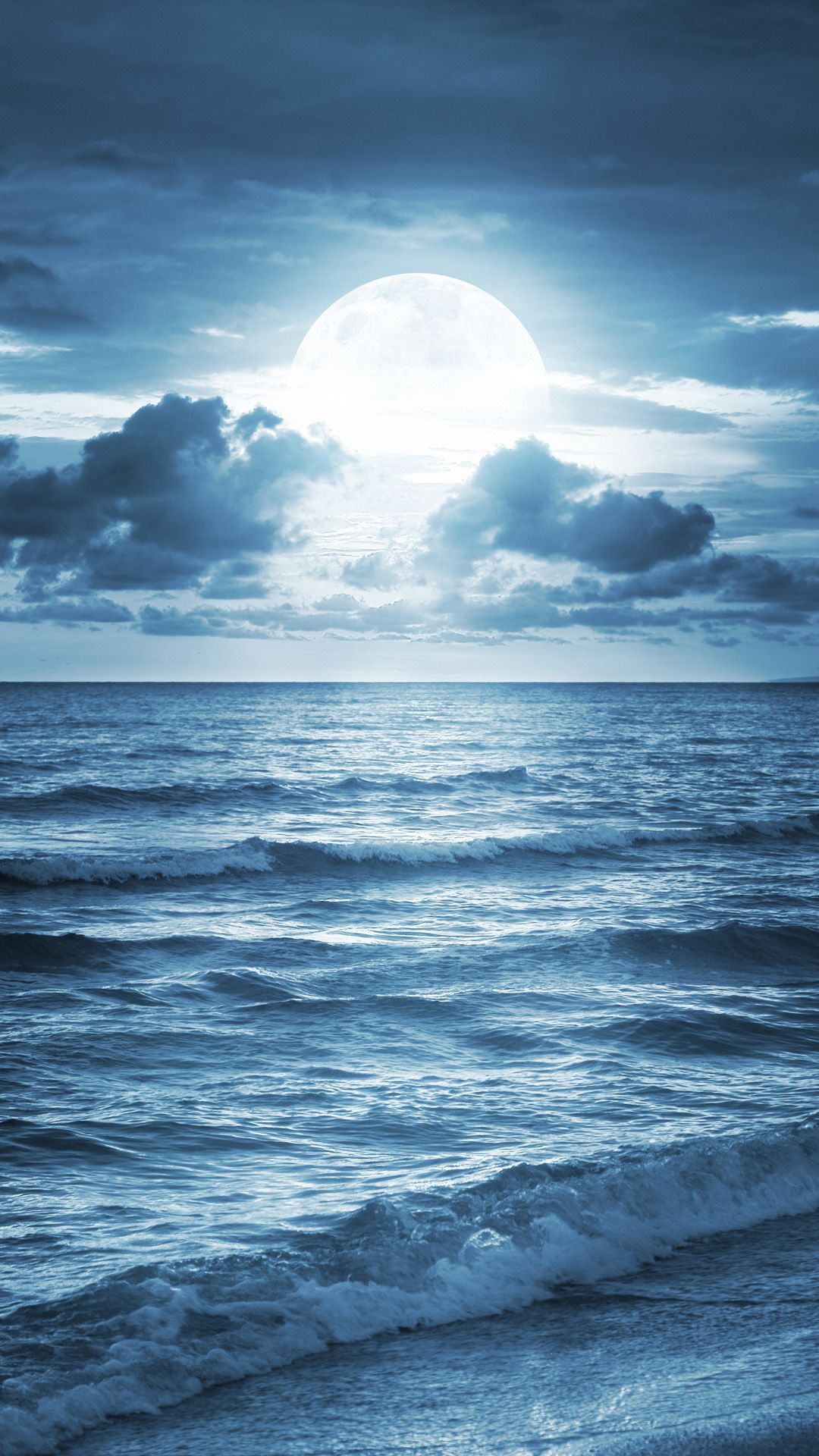 Blue Ocean Beach At Dusk Iphone 6 Wallpaper Beautiful Moon Beautiful Nature Beautiful Nature Wallpaper