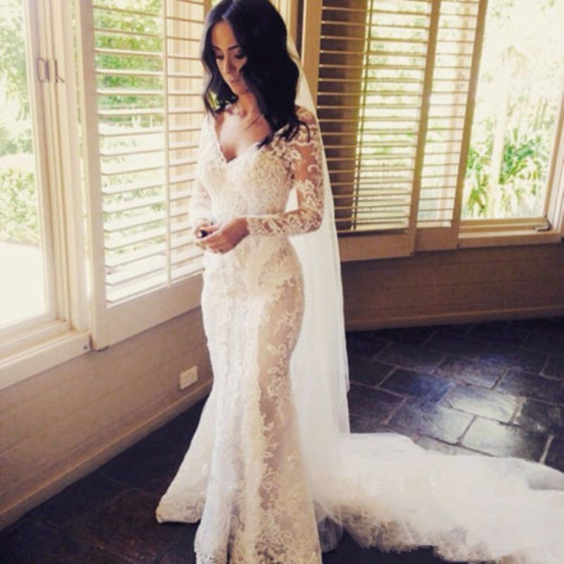 See Through Wedding Dresses.Long Sleeve Lace Wedding Dress Sexy See Through Bridal Gown Custom