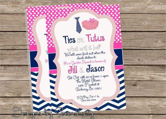 gender reveal tutu and tie invitation, baby shower invitaiton, boy, Baby shower invitations