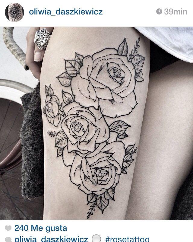 11 Tatuajes de rosas en las piernas
