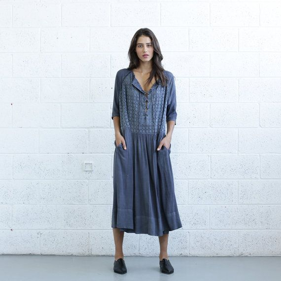 Embroidered Lace Up Dress Gray. by Naftul on Etsy