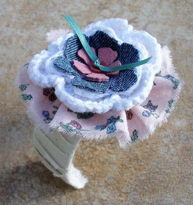 Fabric Flower Cuff Designer Crafts