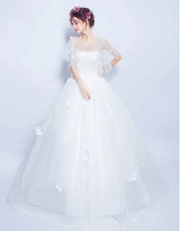 Photo of Traditional Romantic Ball Gown Full Length Tulle Wedding Dre…
