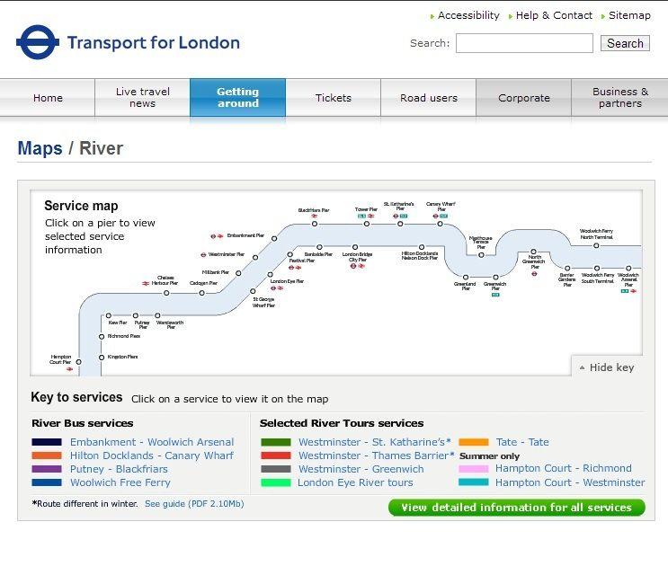http://www.tfl.gov.uk/gettingaround/21311.aspx Thamesilla liikennöi lauttoja, joiden kyydissä matka sujuu verkkaisesti ja maisemat joen rannoille ovat viehättävät. Jotkut laivoista tekevätkin vain maisemakierroksia, mutta London River Servicesin omistamilla vesibusseilla pääsee myös liikkuman paikasta toiseen kahdeksalla eri laiturilla.