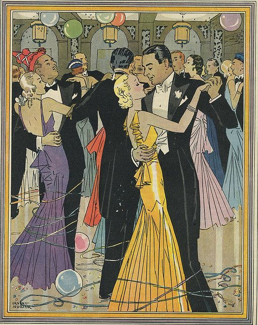 New Years Eve Party 1931 1932 Vintage Happy New Year Art Deco Illustration Vintage Illustration