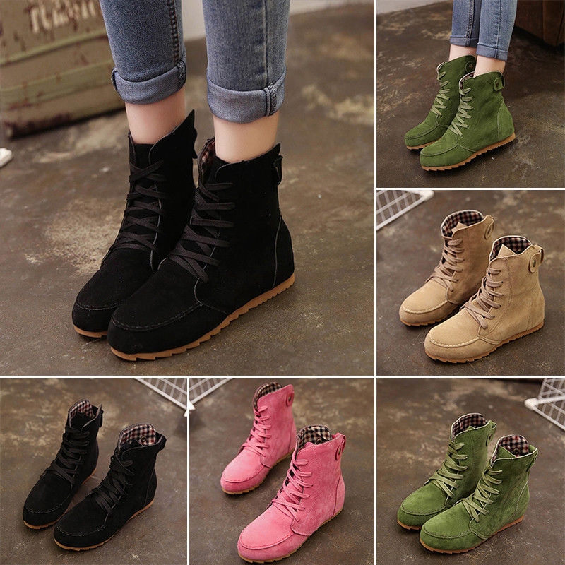Fashion Women's Lace Up Winter Autumn Boots Flat Ankle