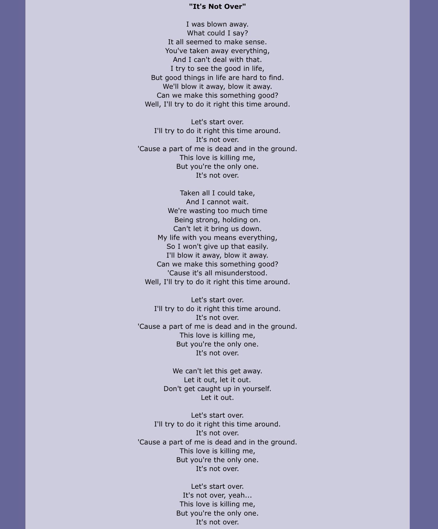 """""""It's Not Over"""" by Daughtry. in 2019 Love songs lyrics"""