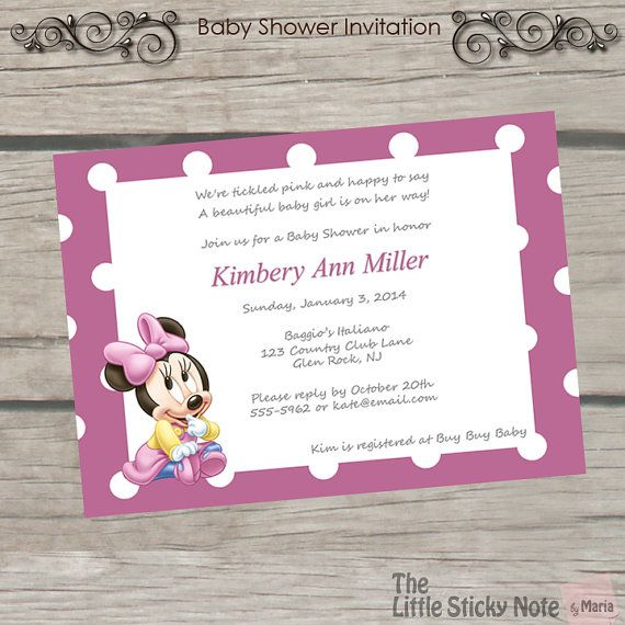 Minnie Mouse Baby Shower Invitations Party plans Pinterest