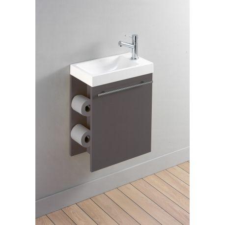 Meuble lave-mains complet avec distributeur de papier couleur taupe - salle de bain meuble noir