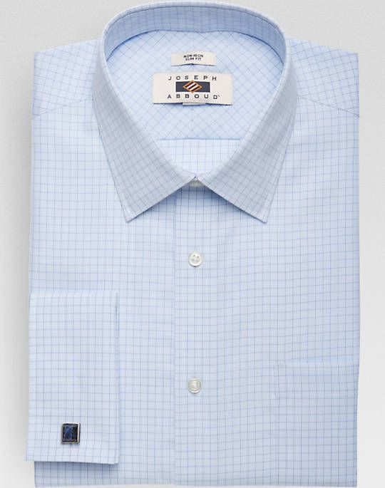 Joseph Abboud Blue Check Slim Fit French Cuff Dress Shirt Non