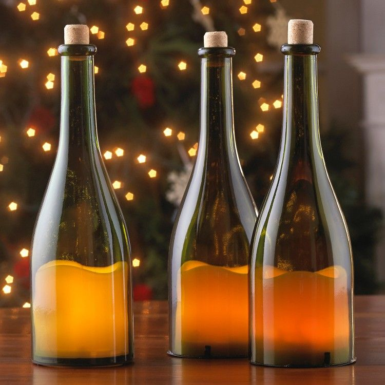 Easy table lamp crafts for christmas candle in a wine bottle aloadofball Choice Image
