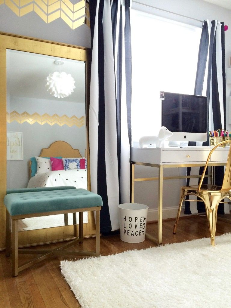 Black And White Teen Bedroom Part - 21: Black, White And Chic All Over; Teen Room Makeover With Raymour U0026 Flanigan
