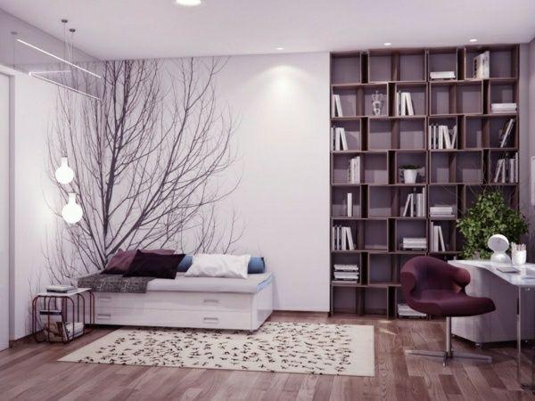 lila schlafzimmer baum dekoration einrichtungsideen Pinterest