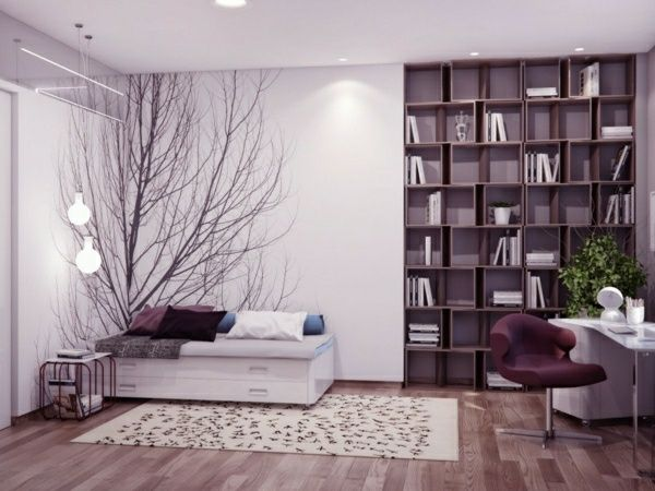 lila schlafzimmer baum dekoration einrichtungsideen Pinterest - ideen fur raumgestaltung ausgefallenes interieur susanna cots