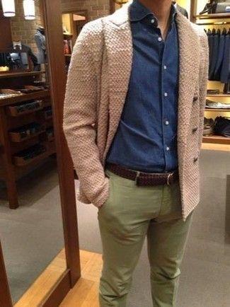 Pantalon Verde Con Camisa Azul Hombre Tienda Online De Zapatos Ropa Y Complementos De Marca