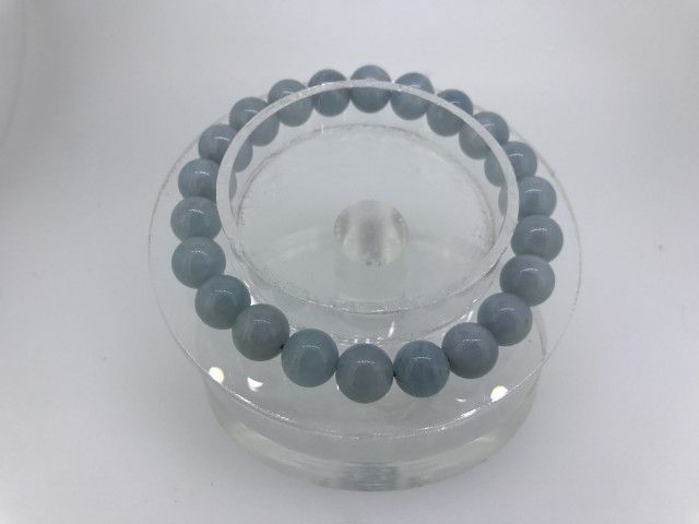 110 Crt Natural Calcedony beads bracelet  NATURAL CHALCEDONY GEMSTONE BRACELET   FROM GEMROCKAUCTIONS.COM