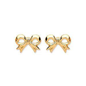 06fcf34b0 9ct Yellow Gold Bow Stud Earrings: Amazon.co.uk: Jewellery | Gifts ...