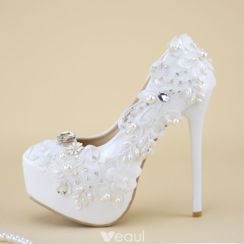 Chic Beautiful White Wedding Shoes 2019 Ankle Strap Lace Flower Pearl 8 Cm Stiletto Heels Pointed Toe Wedding High Heels White Wedding Shoes Bridal Shoes Wedding High Heels