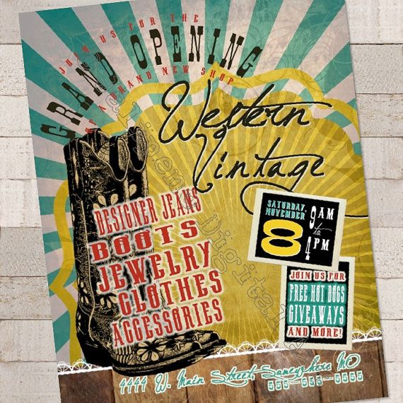 Western Vintage Grand Opening New Shop Printable Flyer By Jalipeno