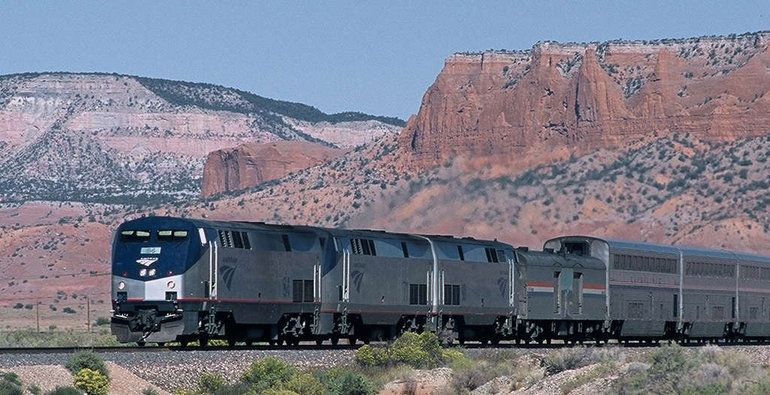 Amtrak Southwest Chief, from Los Angeles, CA to Chicago, IL. Took almost 3 days