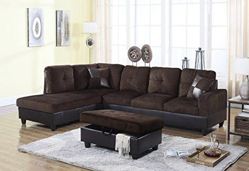 Golden Coast Furniture 2 Pc Simple Bonded Leather Sofa Sectional Sets With Multiple Colors Right Hand Facing Espresso
