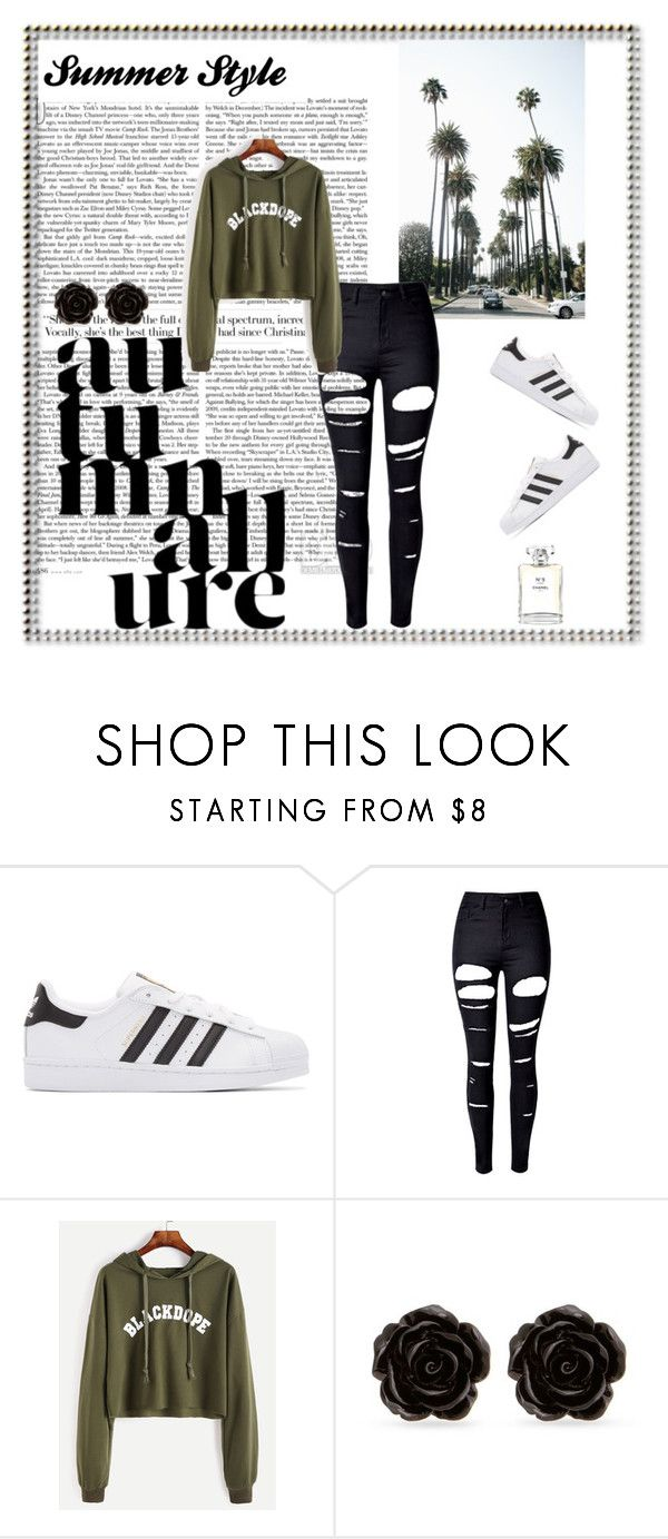 """blackdope."" by suga-r ❤ liked on Polyvore featuring adidas Originals, WithChic, Erica Lyons and Chanel"